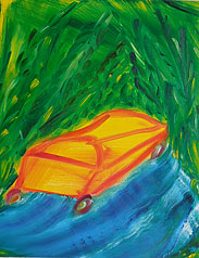 yellow car green forest 12