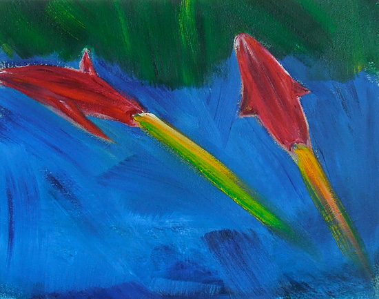 Two Rockets, oil on linen, 11 x 14 inches, 2014
